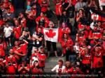 spectators cheer for team canada during