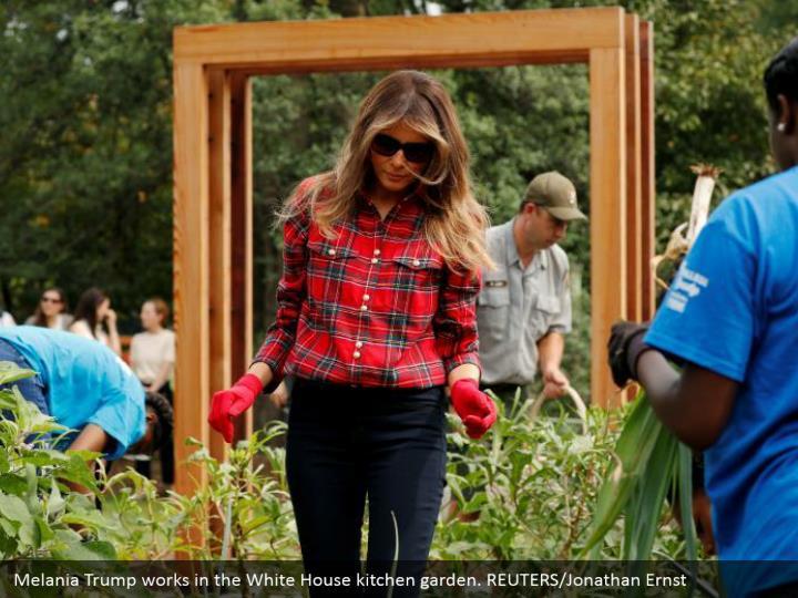 Melania Trump works in the White House kitchen garden. REUTERS/Jonathan Ernst