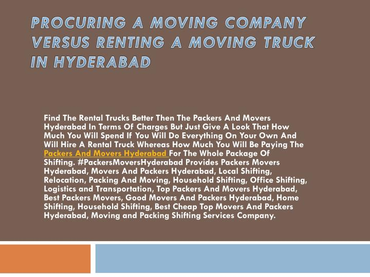 procuring a moving company versus renting a moving truck in hyderabad n.