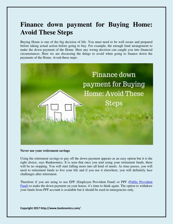 finance down payment for buying home avoid these n.