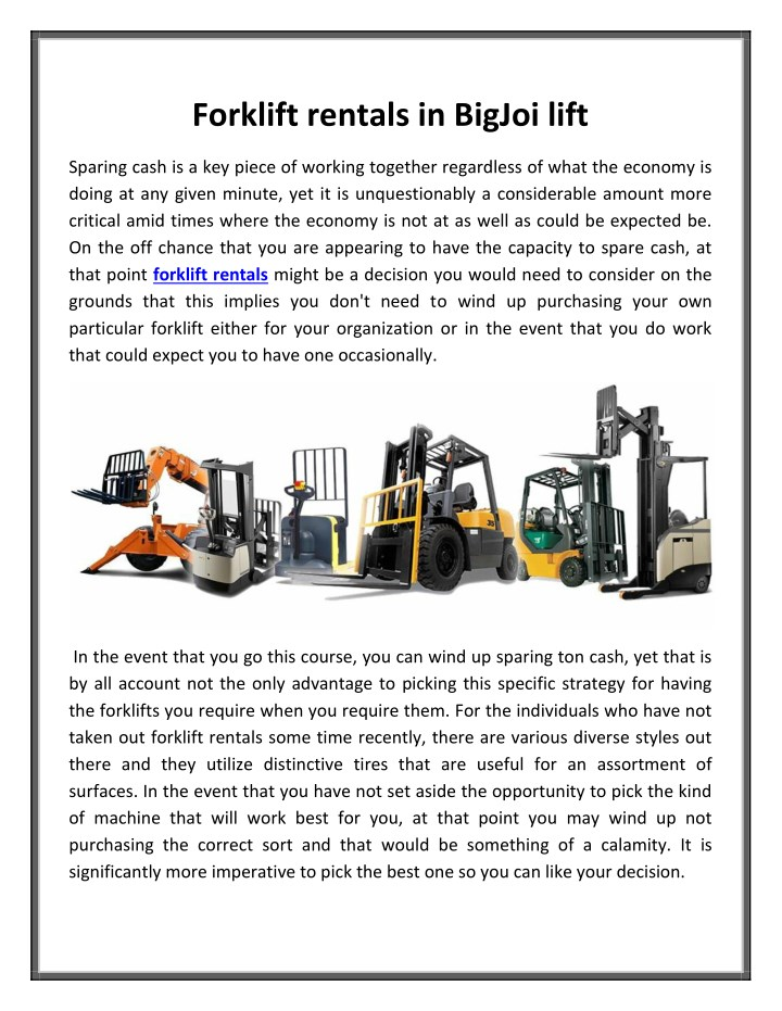 PPT Forklift Rentals In BigJoi Lift PowerPoint