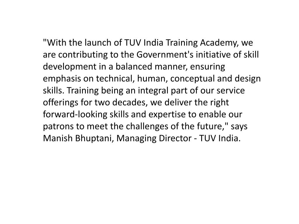PPT - TUV India's Training Division now as 'TUV India Training