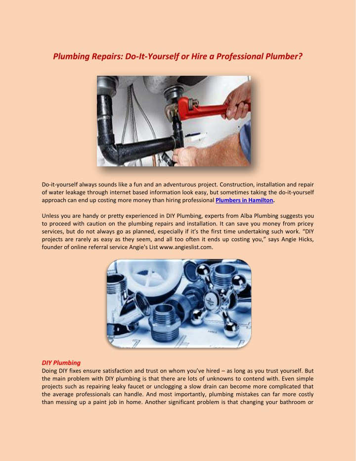 Do It Yourself Plumbing: Plumbing Repairs Do It Yourself Or Hire A