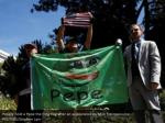 people hold a pepe the frog flag after