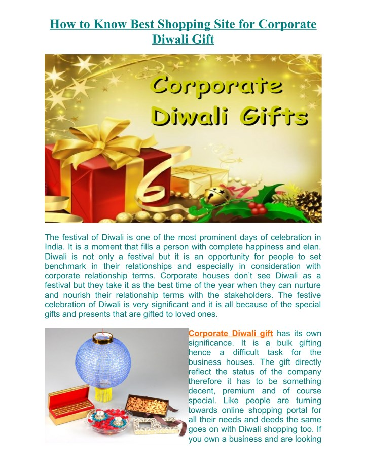 how to know best shopping site for corporate n.