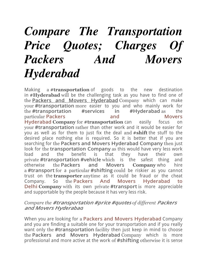 compare the transportation price quotes charges n.