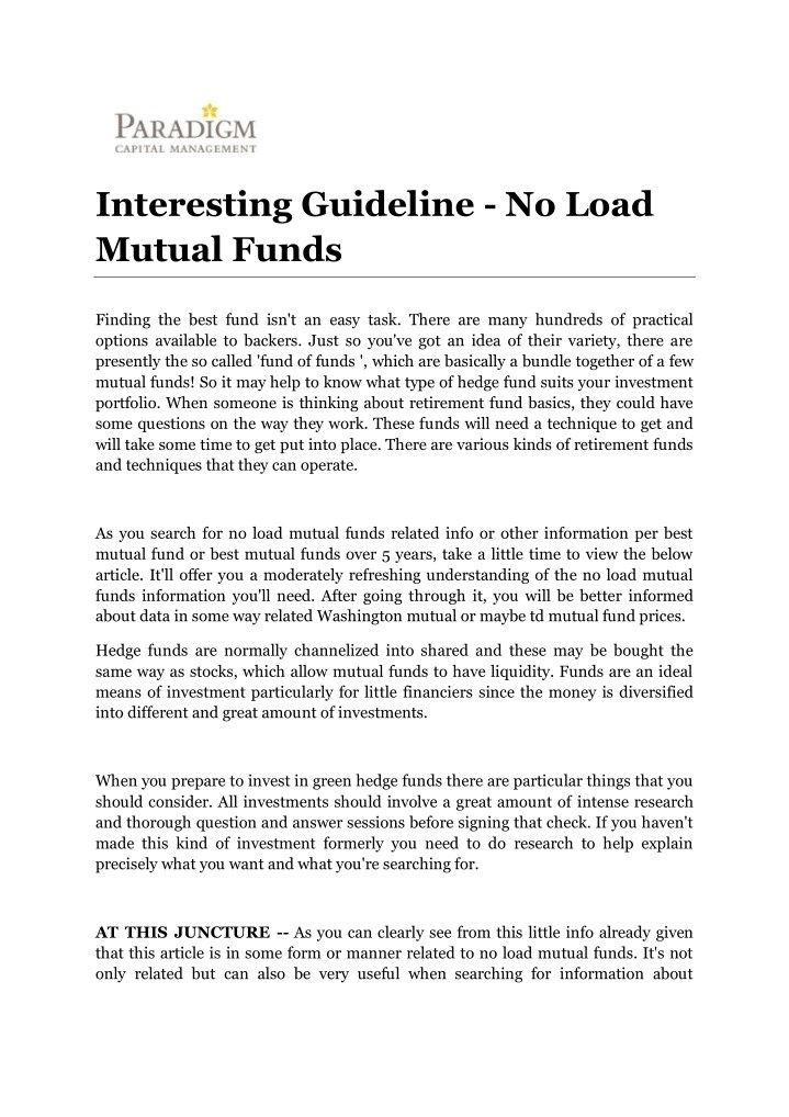 PPT - Interesting Guideline - No Load Mutual Funds