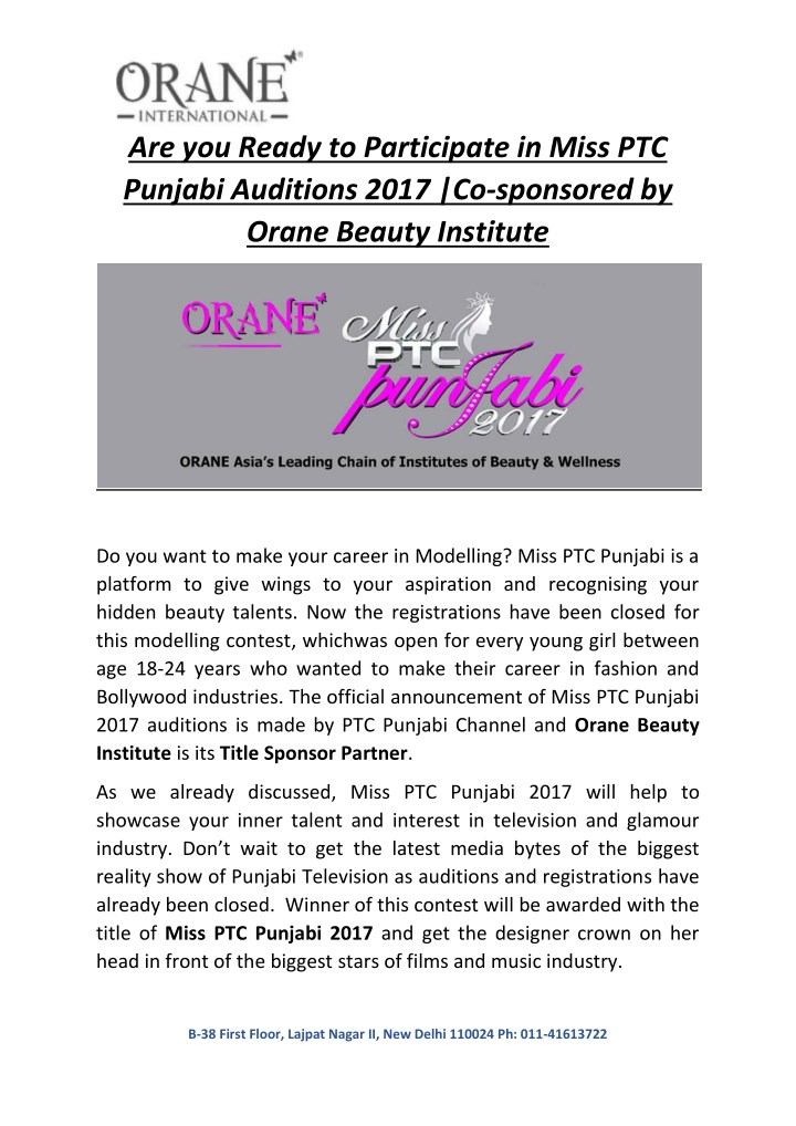 are you ready to participate in miss ptc punjabi n.
