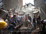 people remove some of the debris of an earthquake