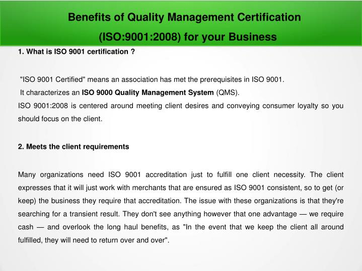 benefits of quality management certification n.
