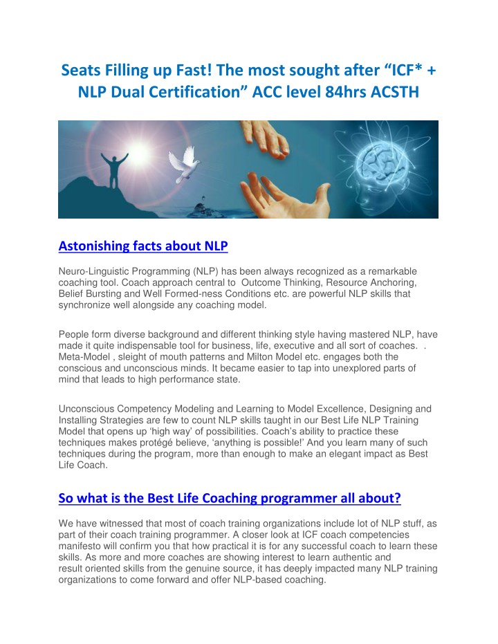 PPT - Certified NLP Master Practitioner Training Course In ...