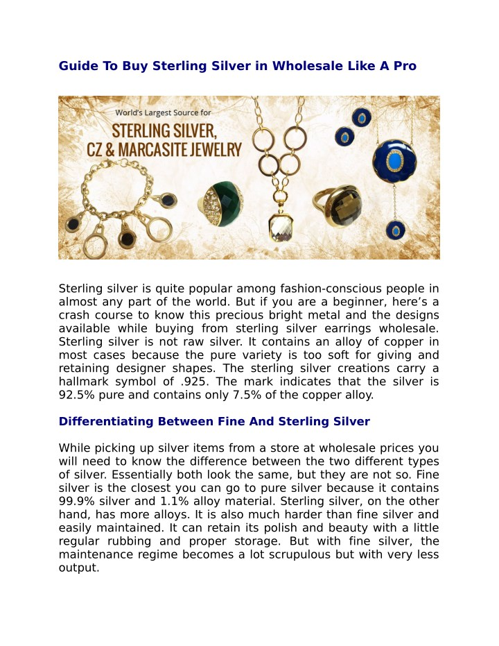 guide to buy sterling silver in wholesale like n.
