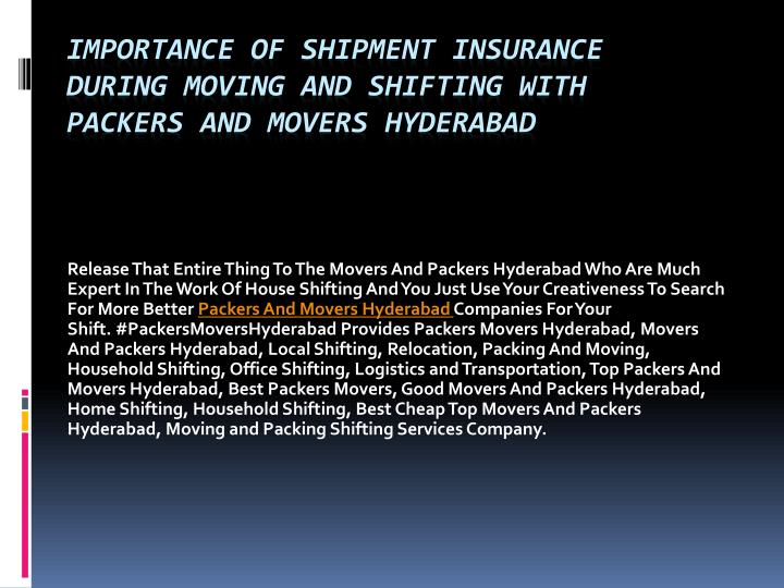 importance of shipment insurance during moving and shifting with packers and movers hyderabad n.