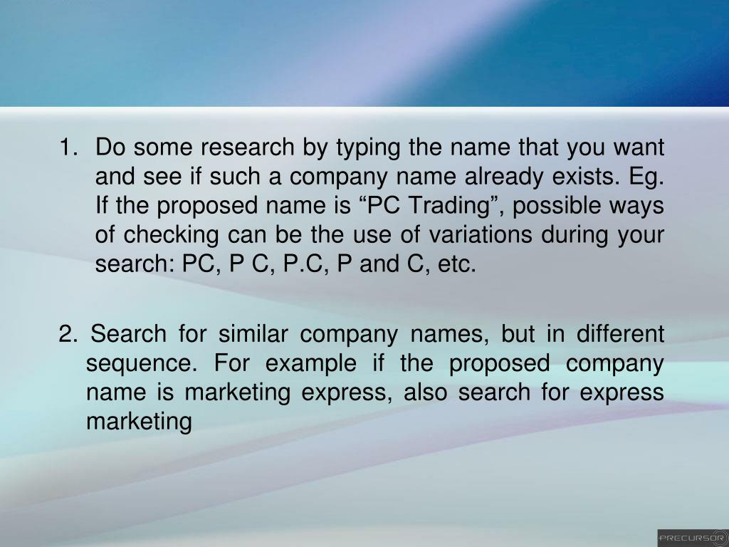 PPT - Guide for choosing the right name for your Singapore Company