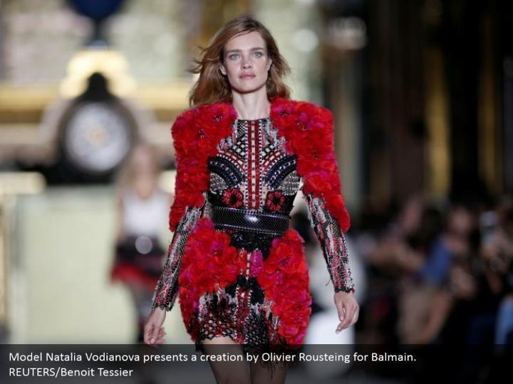 Model Natalia Vodianova presents a creation by Olivier Rousteing for Balmain. REUTERS/Benoit Tessier