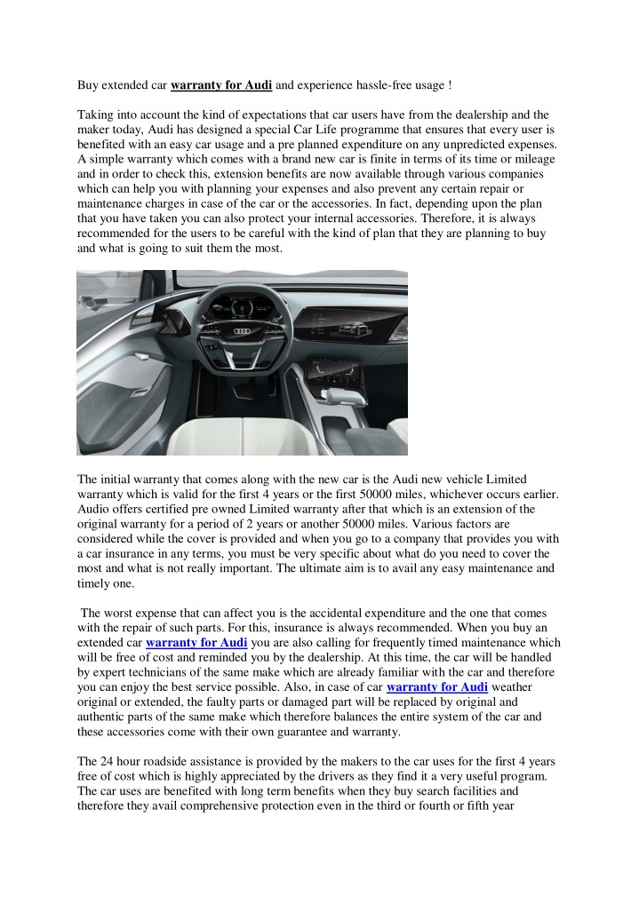 PPT Buy Extended Car Warranty For Audi And Experience Hasslefree - Audi extended warranty