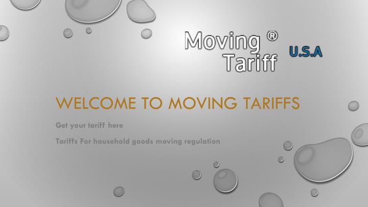 welcome to moving tariffs n.