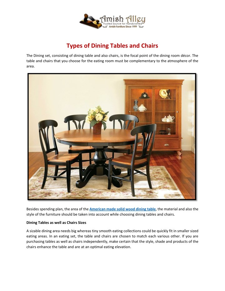 types of dining tables and chairs n.
