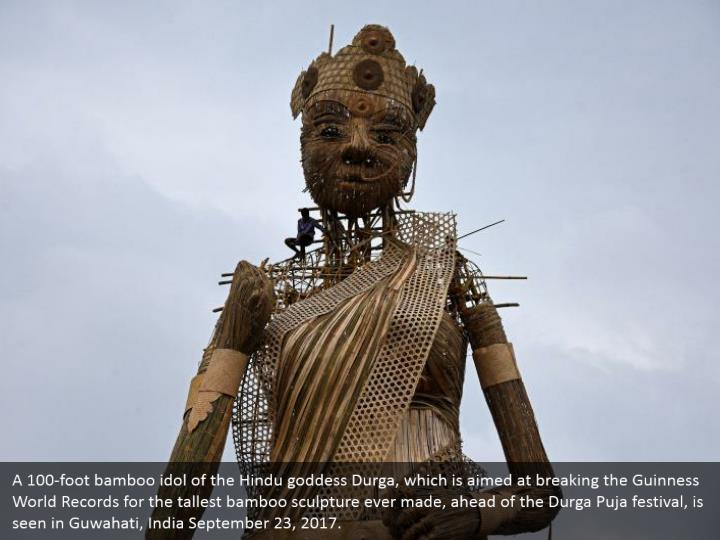 A 100-foot bamboo idol of the Hindu goddess Durga, which is aimed at breaking the Guinness World Records for the tallest bamboo sculpture ever made, ahead of the Durga Puja festival, is seen in Guwahati, India September 23, 2017.