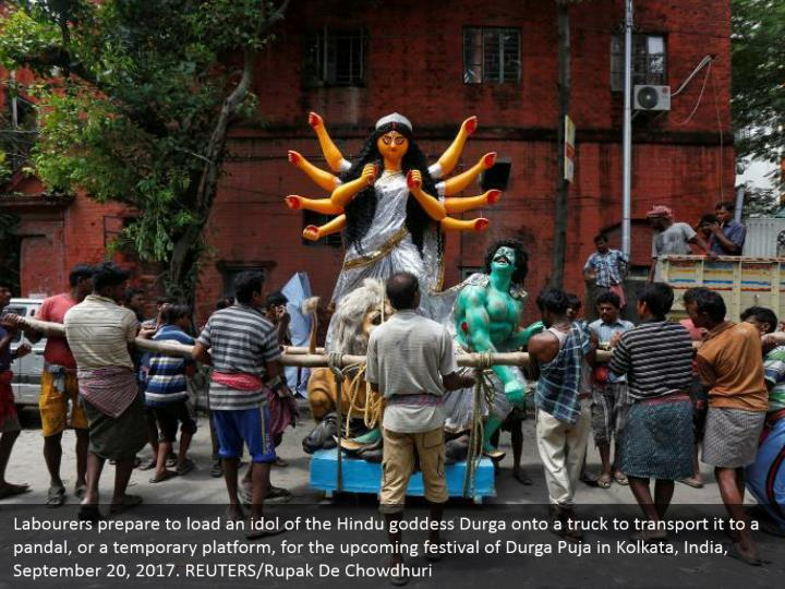 Labourers prepare to load an idol of the Hindu goddess Durga onto a truck to transport it to a pandal, or a temporary platform, for the upcoming festival of Durga Puja in Kolkata, India, September 20, 2017. REUTERS/Rupak De Chowdhuri