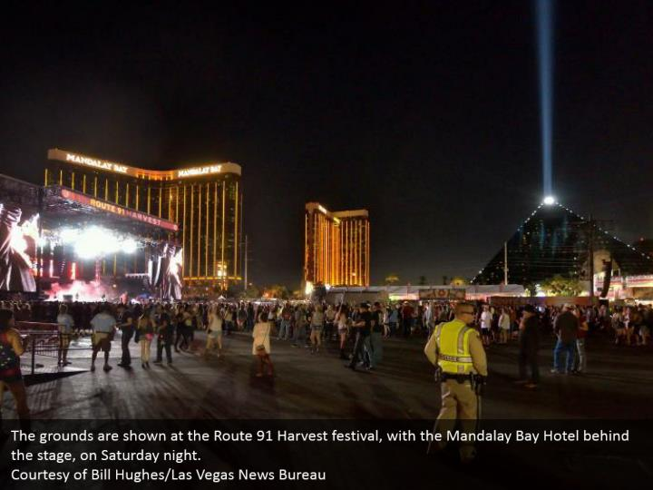The grounds are shown at the Route 91 Harvest festival, with the Mandalay Bay Hotel behind the stage, on Saturday night.  Courtesy of Bill Hughes/Las Vegas News Bureau