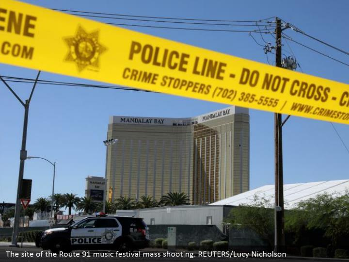 The site of the Route 91 music festival mass shooting. REUTERS/Lucy Nicholson