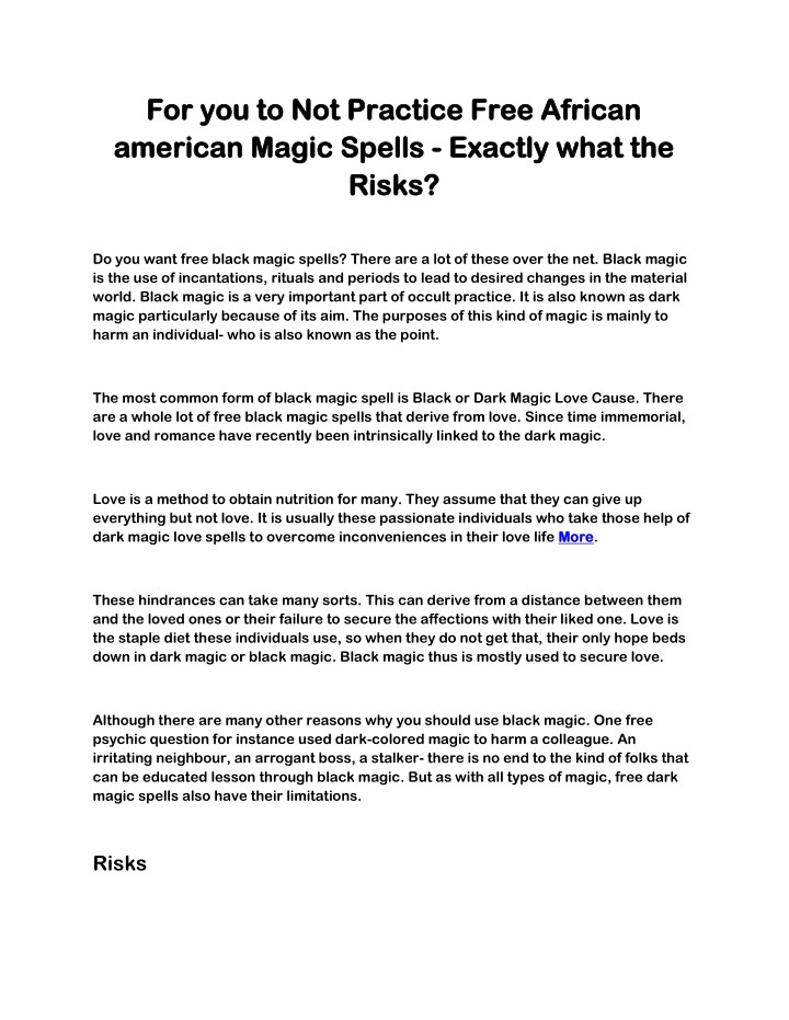 PPT - For you to Not Practice Free African american Magic Spells