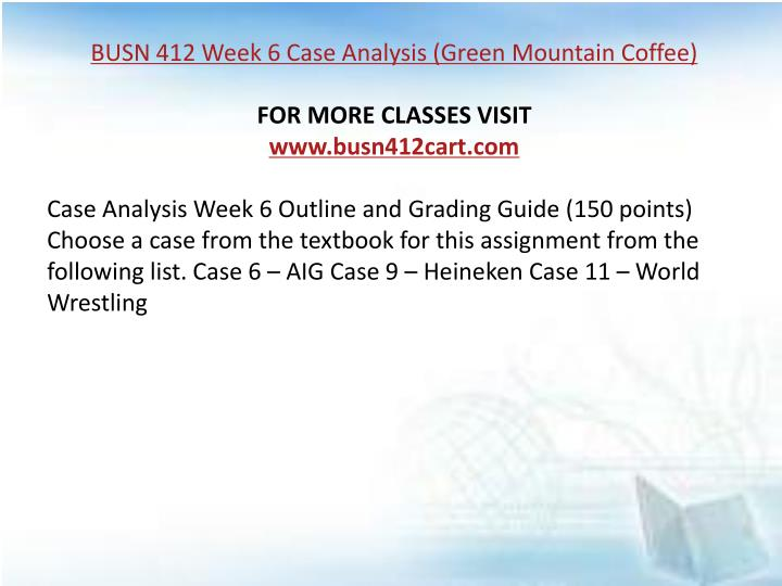 week 6 mkc3220 case analysis Acct 505 week 6 case study balanced scorecard case (700 words paper) be narrated using voice thread or similar technology all team members must.