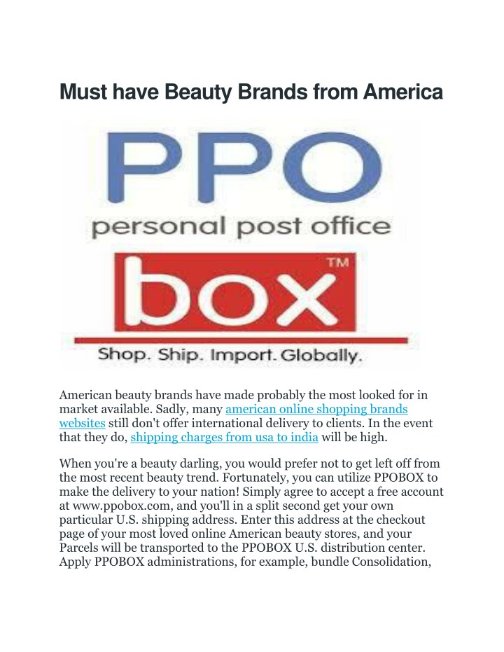 PPT - shipping charges from usa to india   PPOBox(Personal Post