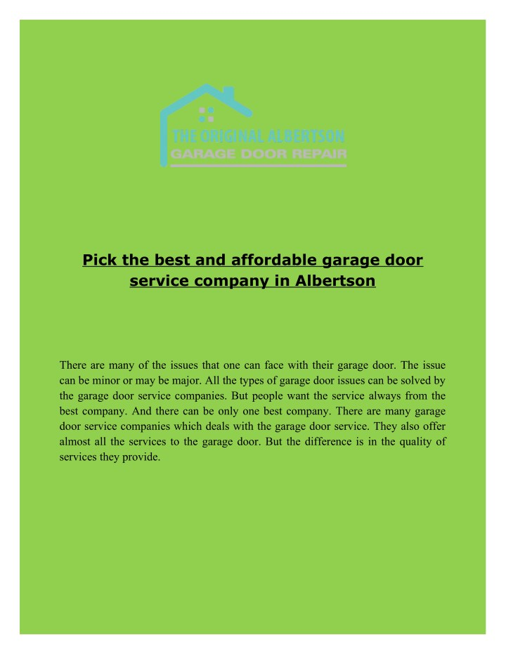 pick the best and affordable garage door service n.