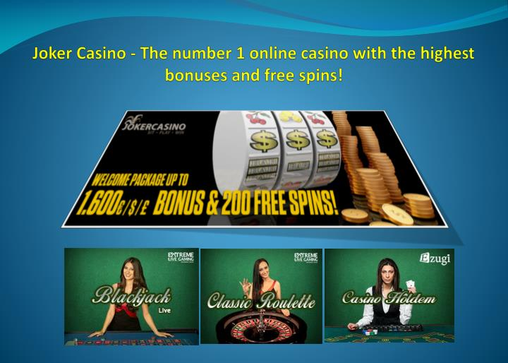 joker casino the number 1 online casino with the highest bonuses and free spins n.