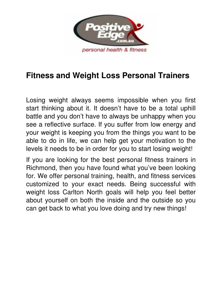 fitness and weight loss personal trainers n.