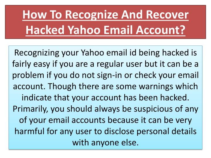 how to recognize and recover hacked yahoo email account n.