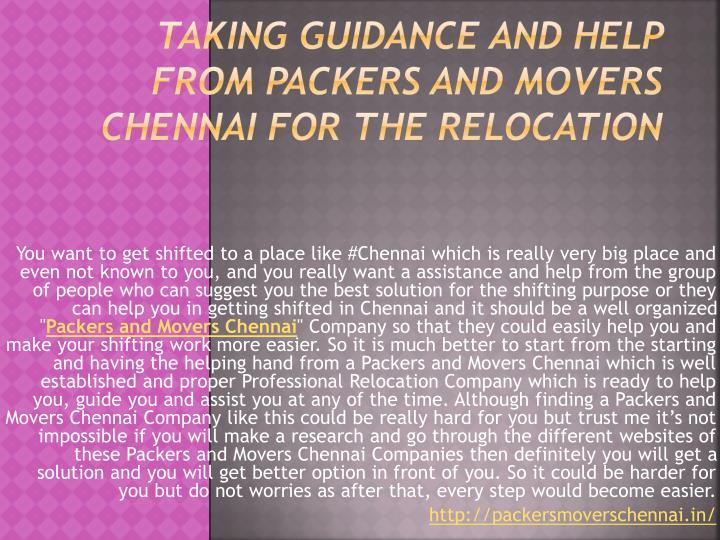 taking guidance and help from packers and movers chennai for the relocation n.