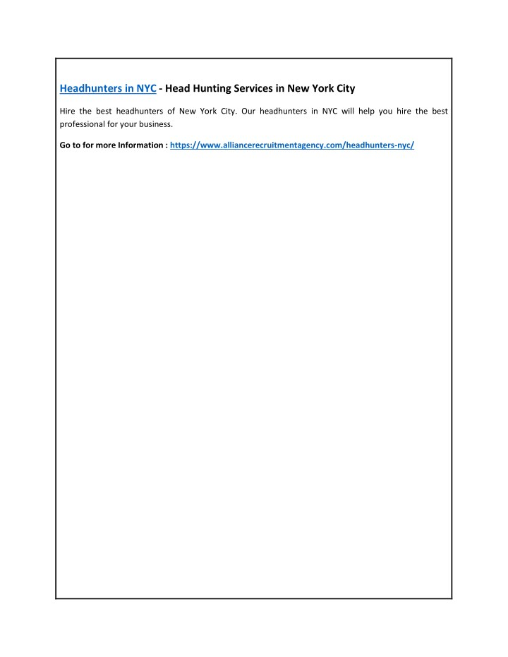 headhunters in nyc head hunting services n.