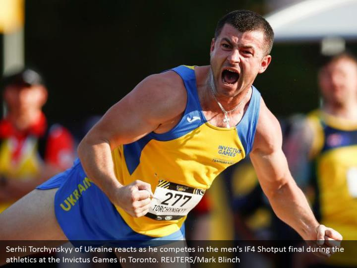 Serhii Torchynskyy of Ukraine reacts as he competes in the men's IF4 Shotput final during the athletics at the Invictus Games in Toronto. REUTERS/Mark Blinch