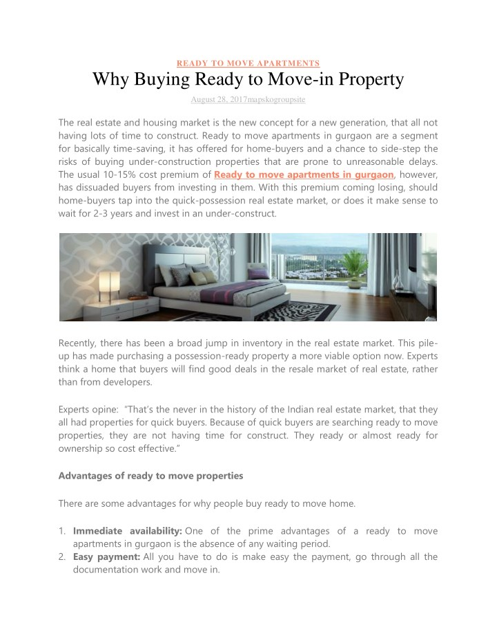 Ppt Why Buying Ready To Move In Property Powerpoint Presentation Free Download Id 7708333