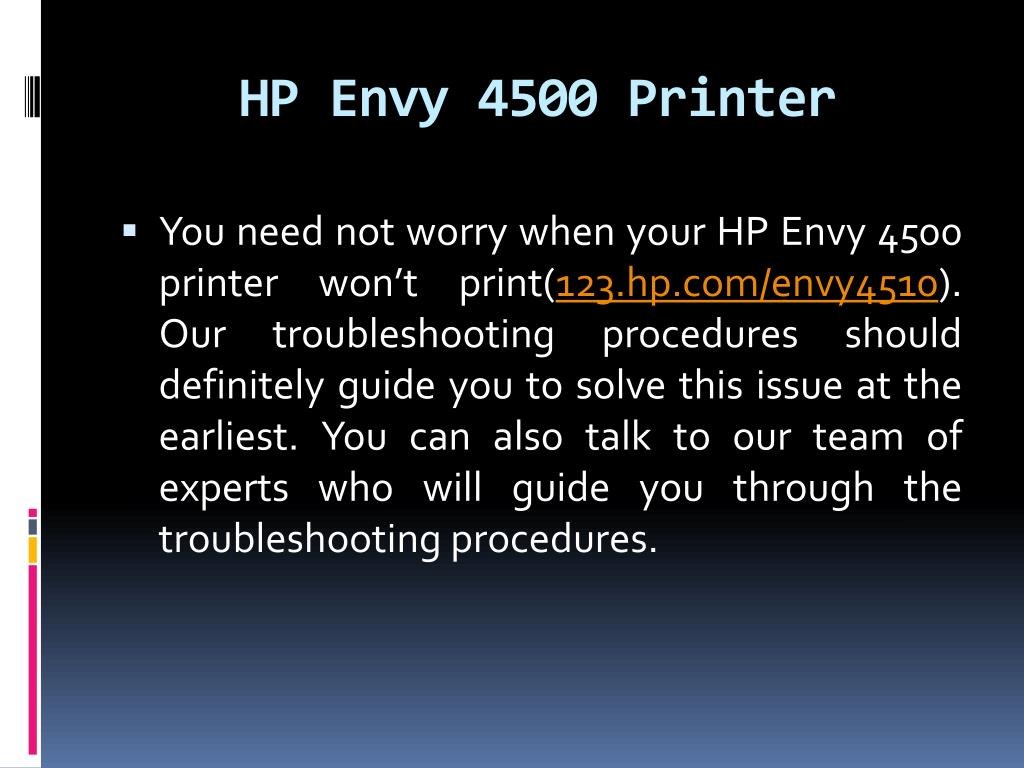 PPT - How to solve HP Envy 4500 printer won't print issues