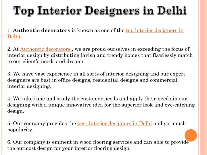 Ppt top interior designers in delhi powerpoint for Interior designers in delhi
