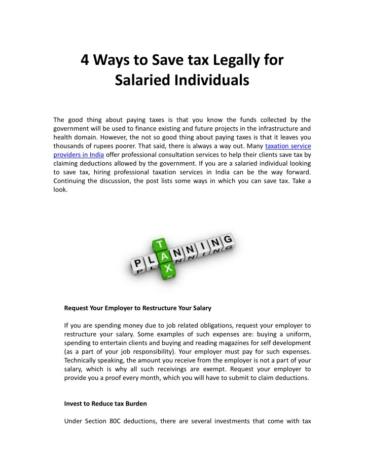 4 ways to save tax legally for salaried n.