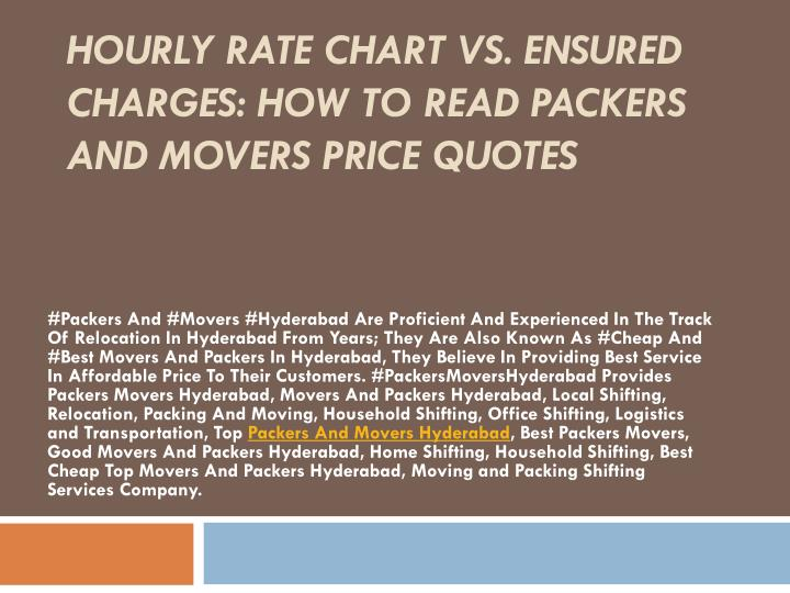 hourly rate chart vs ensured charges how to read packers and movers price quotes n.