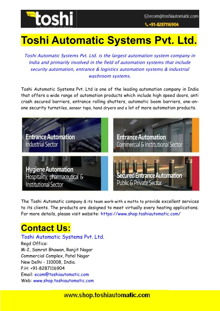 toshi automatic systems pvt ltd n.