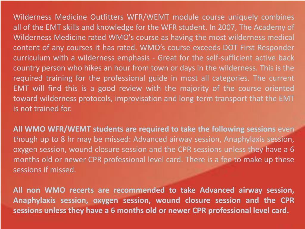 PPT - Wilderness First Responder, W-EMT Module Course