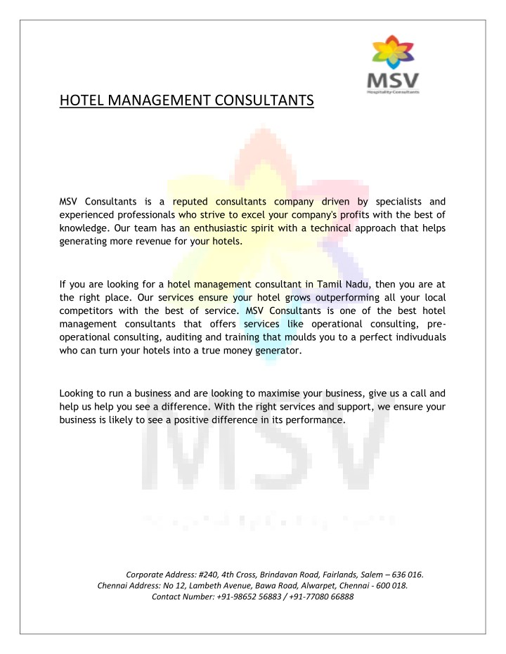 PPT - Hotel Management Consultants in India PowerPoint Presentation
