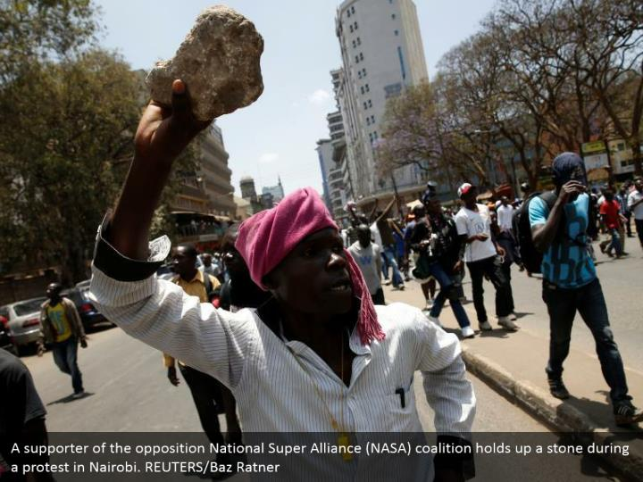 A supporter of the opposition National Super Alliance (NASA) coalition holds up a stone during a protest in Nairobi. REUTERS/Baz Ratner