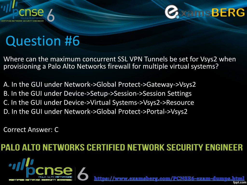PPT - Palo Alto Networks PCNSE6 Actual Exam Question Answers