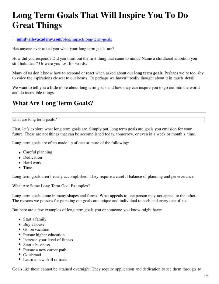 long term goals that will inspire you to do great things n.