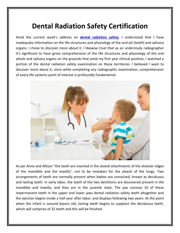 Ppt Dental Radiation Safety Certification Powerpoint Presentation