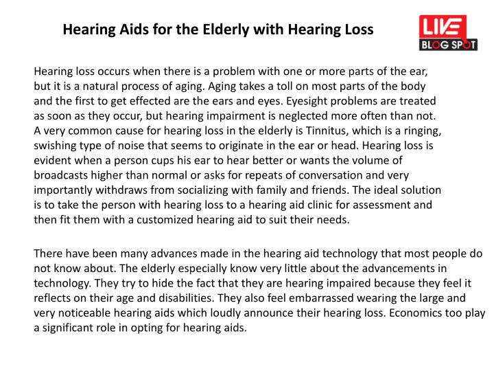 hearing aids for the elderly with hearing loss n.