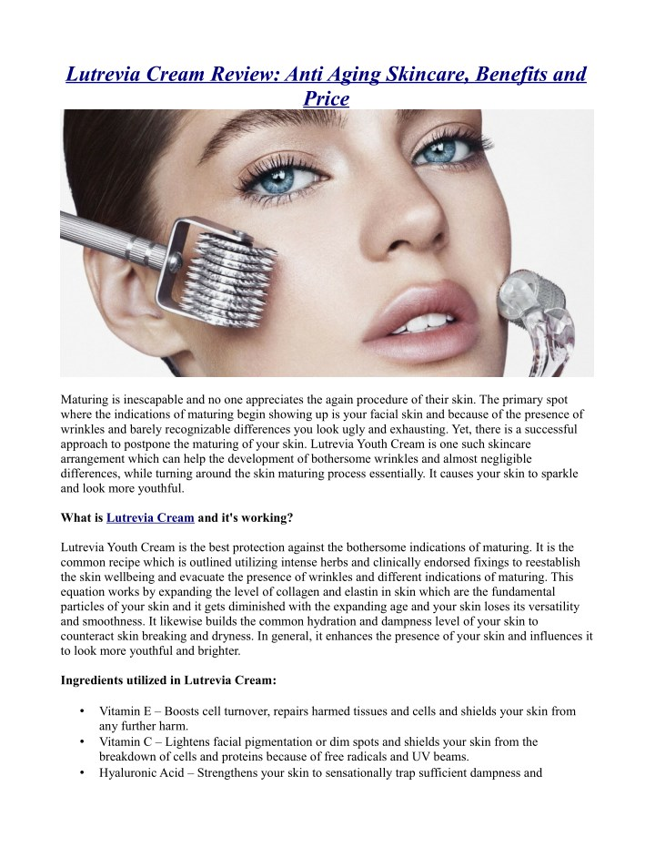 lutrevia cream review anti aging skincare n.
